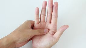 Hand massage stock footage
