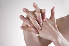 Hand Massage. Pain in the finger joints. Arthralgia Royalty Free Stock Images