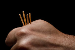 Hand and matches Stock Photography