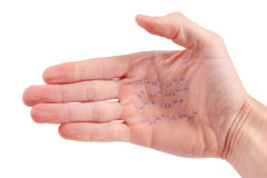 Hand with mathematical equations Stock Photo