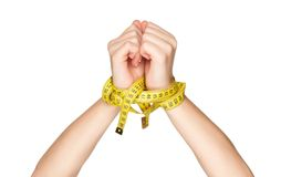 Hand with measure tape royalty free stock photos