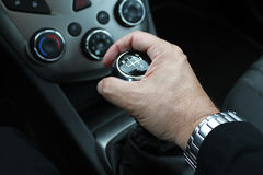 Hand on mecanical control vehicle Royalty Free Stock Image