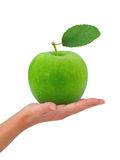 Hand med äpplet Arkivfoton