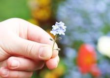 Hand med blomman Royaltyfria Bilder