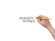 Hand med den isolerade blyertspennan Fotografering för Bildbyråer