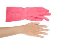 Hand med den skyddande rubber handsken som isoleras på vit bakgrund Fotografering för Bildbyråer