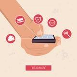 Hand med den smarta telefonen som omges av symboler Royaltyfri Illustrationer