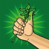 Hand med en grön tumme Arkivfoto