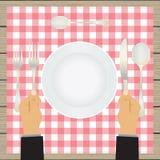 Hand med en kniv och en gaffel bordsservis royaltyfri illustrationer
