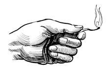 Hand med en match stock illustrationer