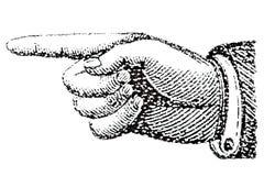 Hand med ett fördjupat pekfinger, intryck av stämpeln Iso vektor illustrationer