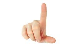 Hand med ett finger som trycker på somethimg Arkivbild
