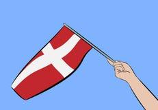 Hand med flaggan av Danmark Royaltyfri Fotografi