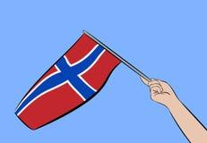 Hand med flaggan av Norge vektor illustrationer