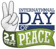 Hand med fredgest och band för den internationella freddagen, vektorillustration Stock Illustrationer
