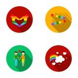 Hand med hjärta, flagga, män Gayset samlingssymboler i plant stilvektorsymbol lagerför illustrationrengöringsduk Arkivfoton