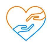 Hand med hjärtasymbolen royaltyfri illustrationer