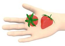 Hand med jordgubbar royaltyfri illustrationer