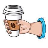 Hand med kaffe. tecknad filmstil Royaltyfri Fotografi