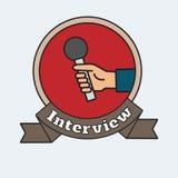 Hand med mikrofonintervjuillustrationen Royaltyfria Bilder