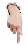 Hand med pekfingret Arkivfoto