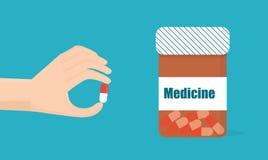 Hand med pills Ta medicinvektorillustrationen Royaltyfri Bild