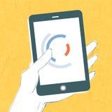 Hand med smartphonen Fotografering för Bildbyråer