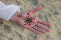 Hand med teckningsmehndi Royaltyfri Fotografi