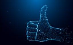 Hand med tummen upp och som tecken från partiklar, linjer och trianglar på blå bakgrund stock illustrationer