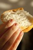 Hand med vitt bröd royaltyfri bild