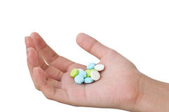 Hand with medicine pills Royalty Free Stock Photo