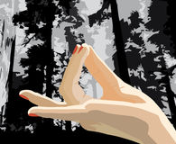 Hand in a meditation pose. An illustrator image forHand in a meditation pose Royalty Free Stock Photos