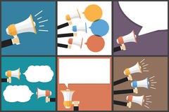 Hand with Megaphone Flat Vector Images Set Stock Photos