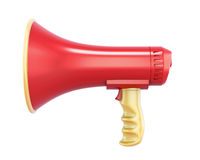 Hand megaphone isolated on white background. 3d rendering Stock Photos