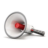 Hand megaphone lying on a white background. 3d rendering Royalty Free Stock Photos