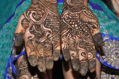 Hand mehndi design nd creativity. Learn with this design how to create the design of mehndi in hand royalty free stock photo