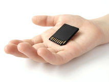 Hand with memory card Stock Photography