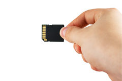 Hand With Memory Card Royalty Free Stock Photography