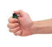 Hand met aansteker Stock Foto
