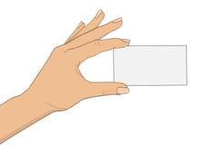 Hand met adreskaartje Stock Foto