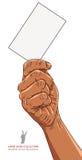 Hand met adreskaartje, het Afrikaanse behoren tot een bepaald ras, gedetailleerde vector Stock Afbeelding