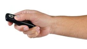 Hand met afstandsbediening op wit Royalty-vrije Stock Fotografie