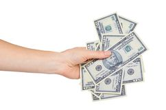 Hand met Amerikaanse dollars, concept steekpenningen en corruptie stock afbeeldingen