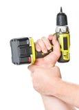 Hand met batterijschroevedraaier Royalty-vrije Stock Fotografie