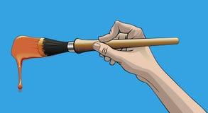 Hand met borstel stock illustratie