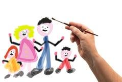 Hand met borstel die een familie trekken royalty-vrije stock fotografie