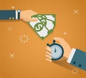 Hand met chronometer en handcontant geld Betalingsmethodes, zaken royalty-vrije stock afbeelding