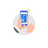 Hand met de illustratiepictogram van de smartphone vlak stijl vector illustratie