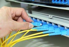Hand met de kabels en de hub van het Netwerk Royalty-vrije Stock Afbeeldingen