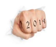 Hand met de tatoegering van 2014 Royalty-vrije Stock Afbeeldingen